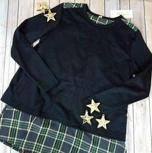 NWT  Black Knit Plaid VBack Tunic Size Large